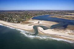 Beach with shoal. Aerial view of Southampton, New York with shoal and inlet Royalty Free Stock Photography