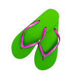 Beach shoes, flip flops - pink and bright green with glitter, ho Stock Photography