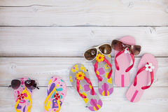 beach shoes with sunglasses on white wood background,Summer holi Stock Photography
