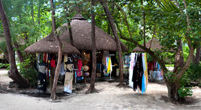 Beach shop at ile au Cerf Stock Photo