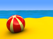 Beach shore. 3d illustration of beach shore with ball Royalty Free Stock Image