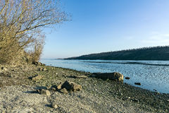 Beach on the shore of the island Khortytsya. March view of Dnipro beach Royalty Free Stock Image