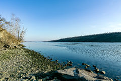 Beach on the shore of the island Khortytsya. March view of Dnipro beach Royalty Free Stock Photography
