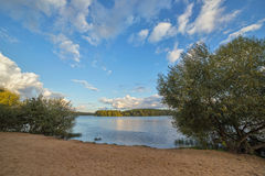 Beach at shore of lake. Deserted beach at shore of lake stock photos