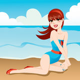 Beach Shore Pinup. Beautiful sexy pinup girl posing on the beach shoreline Stock Images