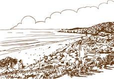 Beach Shore Sketch. Hand drawn sketch of the beach shore vector illustration