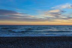 Beach shore sunset gravel sunset Royalty Free Stock Photos