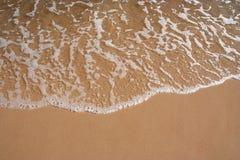 Beach shoreline. Foam bathing the beach shoreline, can use as background royalty free stock photography