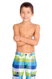 Beach shorts. Little boy with beach shorts isolated in white stock image