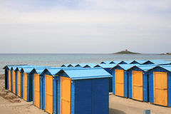 Beach in Sicily. Change rooms on a beach in Sicily, Italy Royalty Free Stock Image
