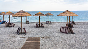 Beach in Sicily in overcast day. Travel to Italy - beach Marina di Cottone on Ionian sea coast in Sicily in overcast day royalty free stock photo