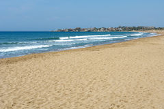 Beach in Side. Beach in Side, Anatolian coast Mediterranean sea of Turkey Royalty Free Stock Photo