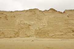 Beach side erosion. Sand dune erosion caused by major storm Royalty Free Stock Photography