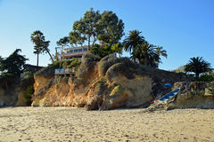 Beach side home in Boat Canyon Beach in Laguna Beach, California. Royalty Free Stock Image