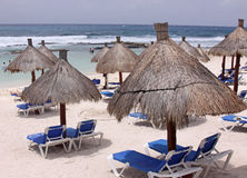 Beach-side Huts. On the beach in the Mayan Riviera, Mexico Stock Photos