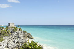 Beach in the side of the Tulum archeological site Royalty Free Stock Photo