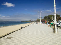 Beach Sidewalk, Vigo, Spain Stock Photos