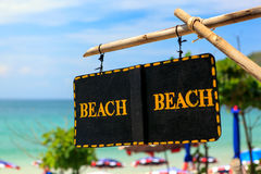Beach Sign - Access To Summer Beach Royalty Free Stock Photography