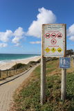By the Beach. A sign by the cottosloe beach, perth, western australia, australia Royalty Free Stock Photos
