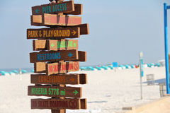 Beach Sign Directions Royalty Free Stock Photo
