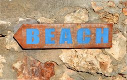 BEACH SIGN HOLIDAYS royalty free stock images