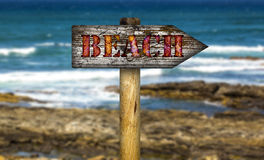 Beach sign. Royalty Free Stock Photography
