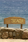 Beach sign, red sea beach Stock Photo