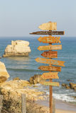 Beach sign for summer fun outdoor activities. In Algarve Portugal royalty free stock photo