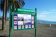 Beach sign, Torre del Mar. Royalty Free Stock Photos
