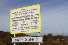 Beach sign. A US Department of Interior sign warns vehicles off the beach to protect nesting sea turtles Stock Photo