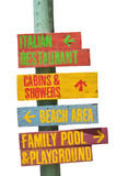 A beach sign. Wooden signs, found within a beach, that are colored differently based on label Stock Photos