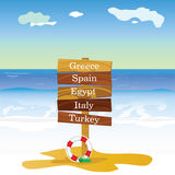 Beach with signboard cartoon vector illustration Royalty Free Stock Photography