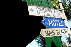 Beach Signs. Road signs for the motel and beach, Byron Bay Royalty Free Stock Images