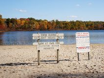 Beach signs. Warning signs on public beach in a state park Royalty Free Stock Photos