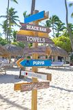Beach Signs In Punta Cana A Popular Destination In Dominican Republic Stock Image