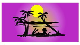 Beach silhouette Stock Photo