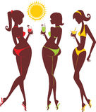 Beach silhouettes. Young women drinking summer cocktails Stock Images