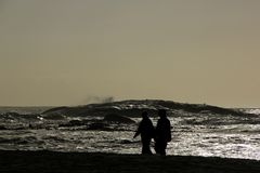 Beach Silhouettes Royalty Free Stock Photography