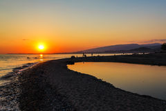 Beach Sinop in capital of Abkhazia Sukhumi on a decline Stock Photography