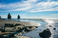On the beach, 3 sisters and elephant rock, new zealand 60 stock photo