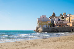 The beach of Sitges in Catalonia Royalty Free Stock Photo