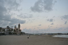 Beach in Sitges, Costa Dorada, Spain Royalty Free Stock Photography
