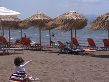 The beach at Skala Kalloni Lesvos Greece Royalty Free Stock Images