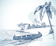 Beach sketch. With boat on shore, palm trees and volcano in background Royalty Free Stock Images