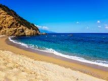 Beach in skiathos. Koukounaries elias beach in skiathos greece. September 2018 stock photography