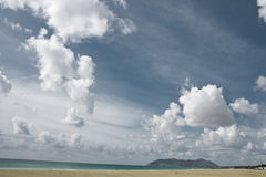 Beach and Sky. View over to San Felice Circeo, Italy Stock Photography