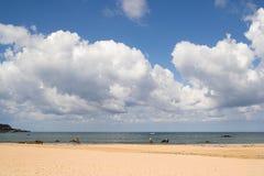 Beach and sky. Cantabria, Spain Royalty Free Stock Photo