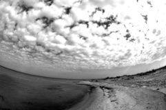 Beach sky. With a fish eye view Royalty Free Stock Photos