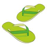 Beach slippers. Fully editable illustration of isolated colored beach slippers Royalty Free Stock Image