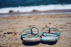 Beach slippers holidays Stock Image